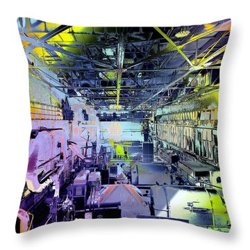 Grunge Central Power Station Throw Pillow