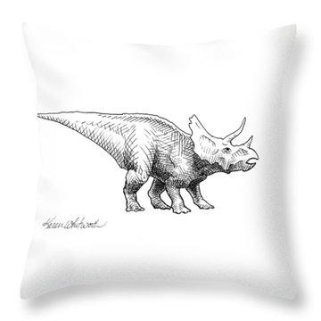 Cera The Triceratops - Dinosaur Ink Drawing Throw Pillow by Karen Whitworth