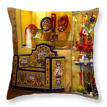 Ceramic Crafts In A Shop Throw Pillow