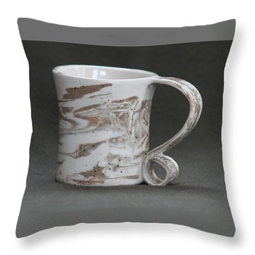 Ceramic Marbled Clay Cup Throw Pillow by Suzanne Gaff