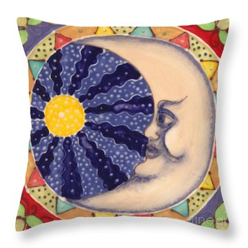 Throw Pillow featuring the painting Ceramic Moon by Anna Skaradzinska