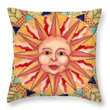 Throw Pillow featuring the painting Ceramic Sun by Anna Skaradzinska