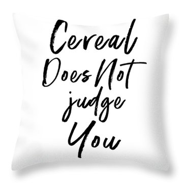 Cereal Does Not Judge White- Art By Linda Woods Throw Pillow