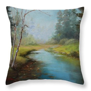 Cerulean Blue Stream Throw Pillow