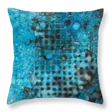 Throw Pillow featuring the painting Cerulean Dream Ink #23 by Sarajane Helm