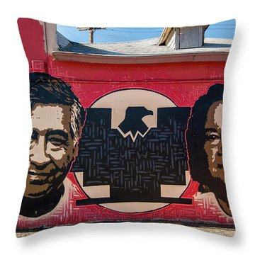 Cesar Chavez And Dolores Huerta Mural - Utah Throw Pillow by Gary Whitton
