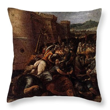 Cesari Giuseppe St Clare With The Scene Of The Siege Of Assisi Throw Pillow by Giuseppe Cesari