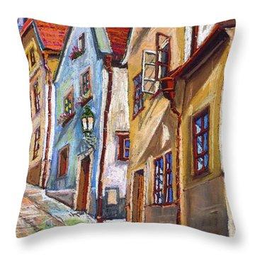 Cesky Krumlov Old Street 2 Throw Pillow by Yuriy  Shevchuk