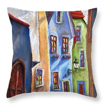 Cesky Krumlov Old Street Throw Pillow by Yuriy  Shevchuk