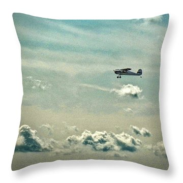 Cessna 140 Departing Delaware Coastal Airport At Georgetown Throw Pillow