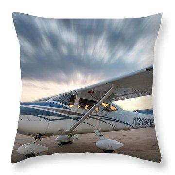 Cessna 182 On The Ramp Throw Pillow