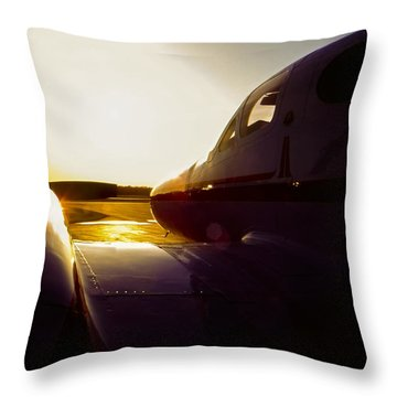 Cessna 421c Golden Eagle IIi Silhouette Throw Pillow