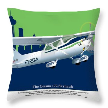 Throw Pillow featuring the drawing Cessna Skyhawk 172 by Kenneth De Tore