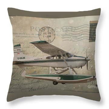 Cessna Skywagon 185 On Vintage Postcard Throw Pillow