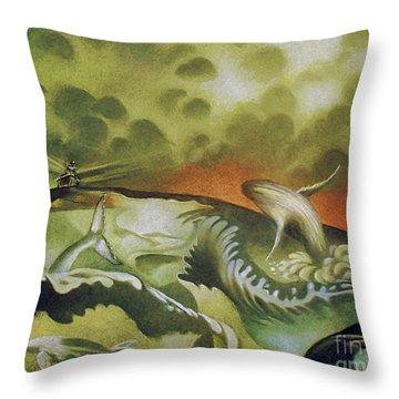 Cetacean Sunset Throw Pillow