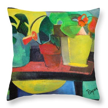 Cezanne Potting Stand Throw Pillow