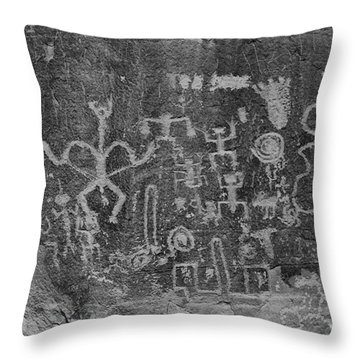 Throw Pillow featuring the photograph Chaco Canyon Petroglyphs Black And White by Adam Jewell