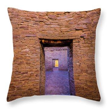 Chaco Canyon - Pueblo Bonito Doorways - New Mexico Throw Pillow