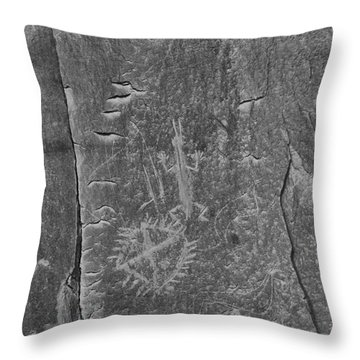 Throw Pillow featuring the photograph Chaco Petroglyph Figures Black And White by Adam Jewell