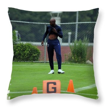 Chad Takes The Field Throw Pillow by Mike Martin