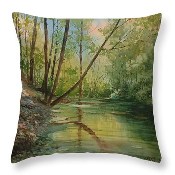 Chagrin River In Spring Throw Pillow