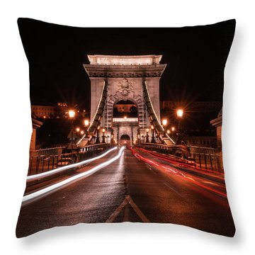 Throw Pillow featuring the photograph Chain Bridge At Midnight by Jaroslaw Blaminsky
