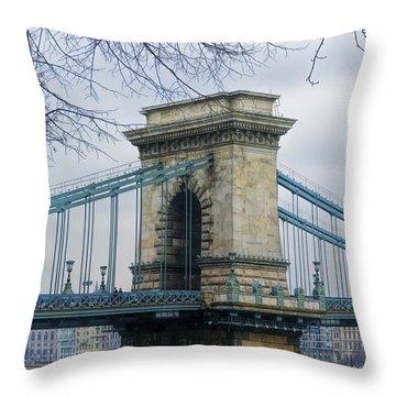 Chain Bridge Pier Throw Pillow