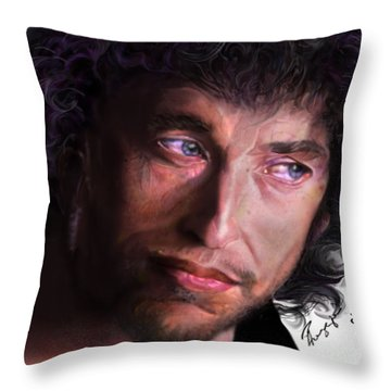 Chained To The Sky -  Bob Dylan  Throw Pillow by Reggie Duffie
