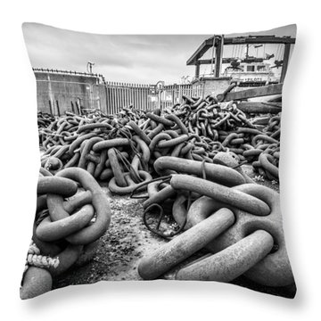 Throw Pillow featuring the photograph Chains And Anchors by Gary Gillette