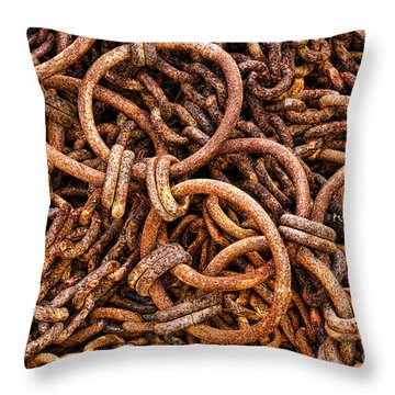 Chains And Rings And Rust Throw Pillow