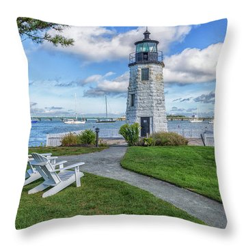 Chairs At Newport Harbor Lighthouse Throw Pillow