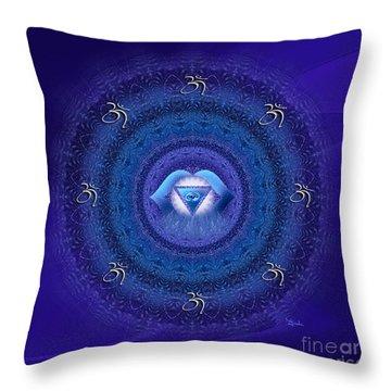 Chakra Mandala Art - Ajna Chakra Mandala By Rgiada Throw Pillow