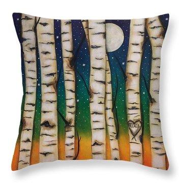 Chakra Rainbow Forest Throw Pillow