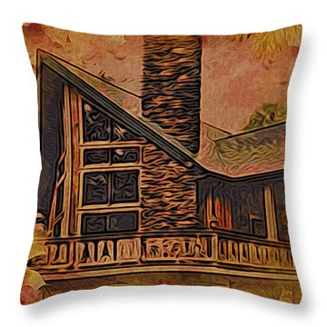 Throw Pillow featuring the digital art Chalet In Autumn by Kathy Kelly