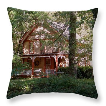 Chalet In The Trees Throw Pillow by Julie Grace