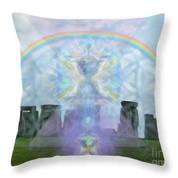 Chalice Over Stonehenge In Flower Of Life And Man Throw Pillow