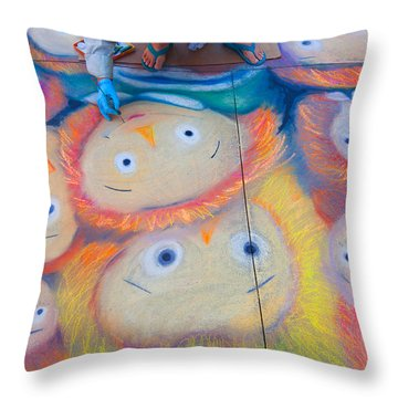 Throw Pillow featuring the photograph Chalk Art - Street Photography by Ram Vasudev