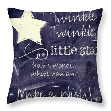 Chalk Board Nursery Rhymes Throw Pillow by Mindy Sommers