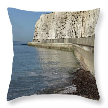 Chalk Cliffs At Peacehaven East Sussex England Uk Throw Pillow