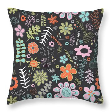 Chalkboard Flowers Throw Pillow by Darlene Seale