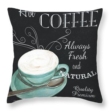 Throw Pillow featuring the painting Chalkboard Retro Coffee Shop 1 by Debbie DeWitt