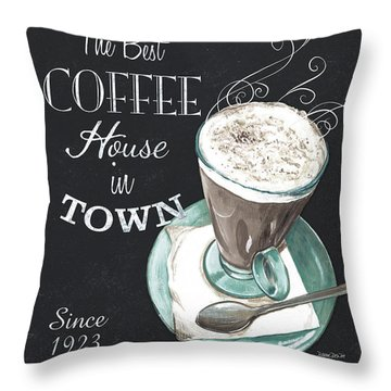 Throw Pillow featuring the painting Chalkboard Retro Coffee Shop 2 by Debbie DeWitt