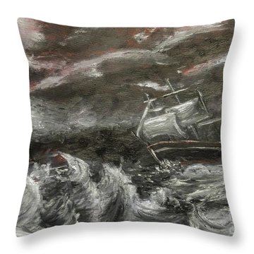 Throw Pillow featuring the painting Challenged by Isabella F Abbie Shores FRSA