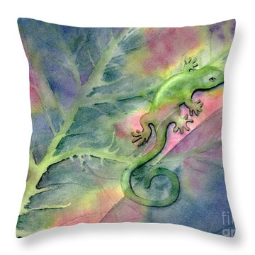 Chameleon Throw Pillow by Amy Kirkpatrick