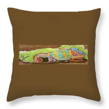 Chameleon Throw Pillow by Ann Michelle Swadener