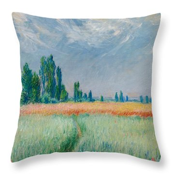Throw Pillow featuring the painting Champ De Ble by Claude Monet