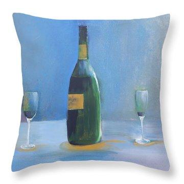 Throw Pillow featuring the painting Champagne For Two by Lisa Kaiser