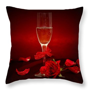 Champagne Glass With Red Roses And Petals Throw Pillow