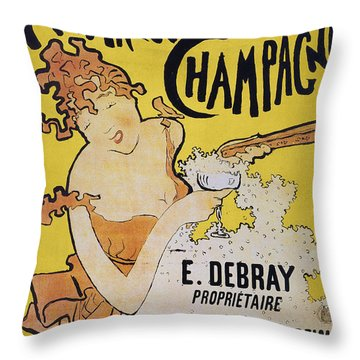 Champagne Poster, 1891 Throw Pillow by Granger