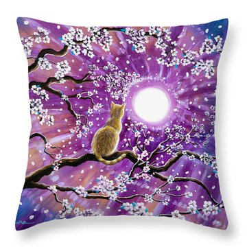Champagne Tabby Cat In Cherry Blossoms Throw Pillow